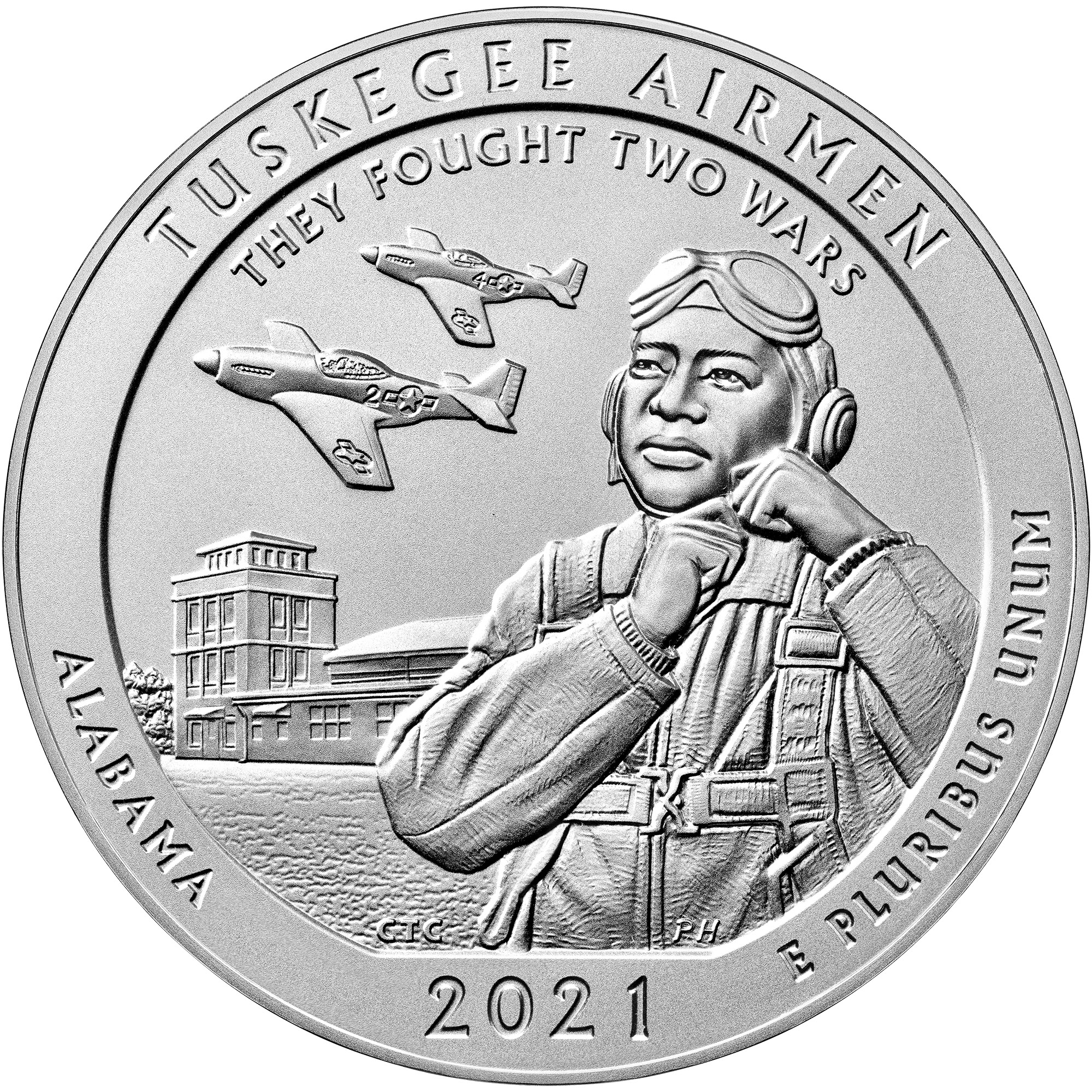 2021 America the Beautiful Quarters Five Ounce Silver Uncirculated Coin Tuskegee Airmen Alabama Reverse