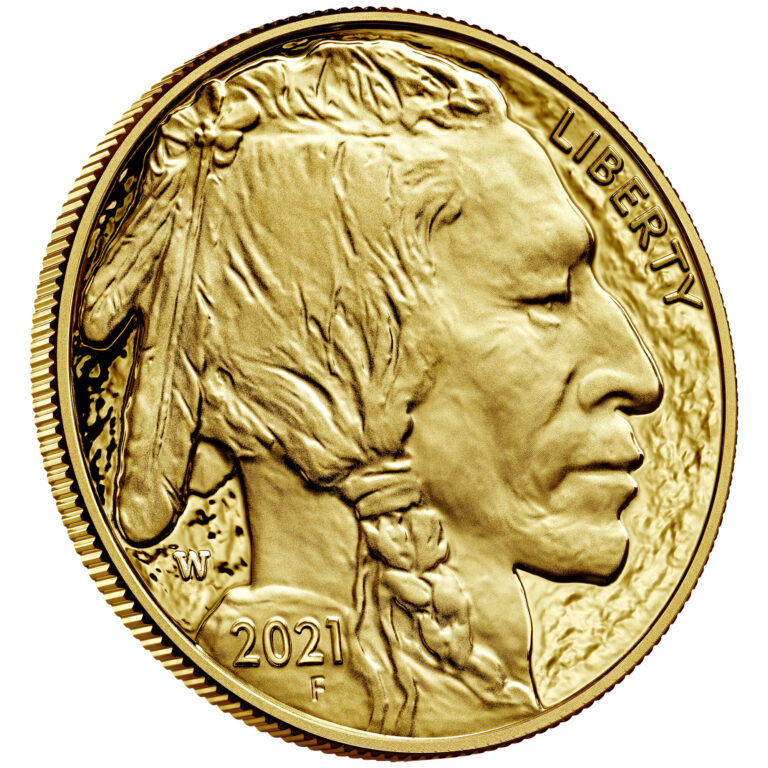 2021 American Buffalo One Ounce Gold Proof Coin Obverse Angle