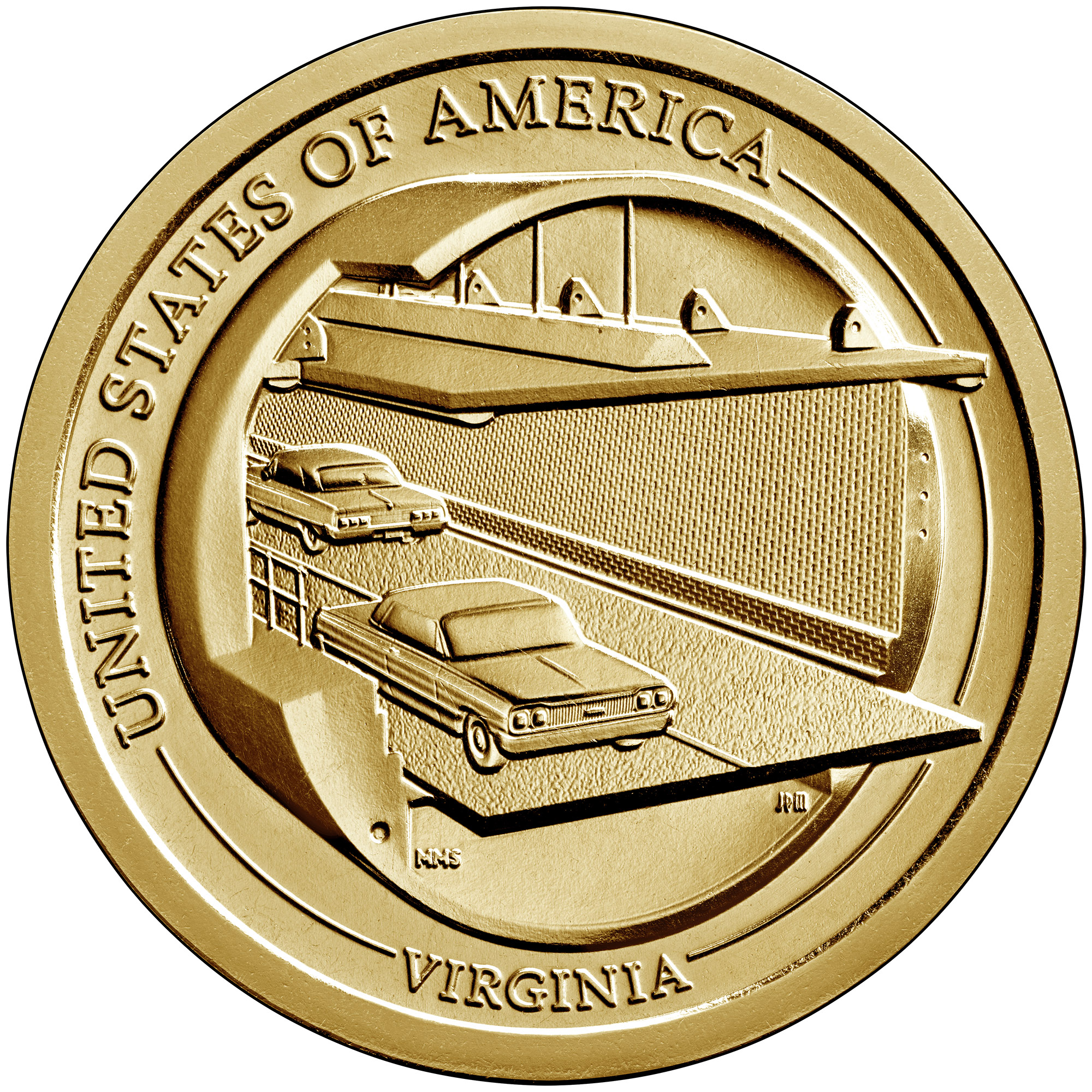 2021 American Innovation One Dollar Coin Virginia Uncirculated Reverse