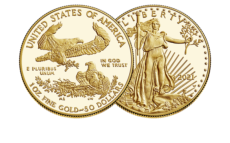 2021 american eagle gold proof reverse and obverse
