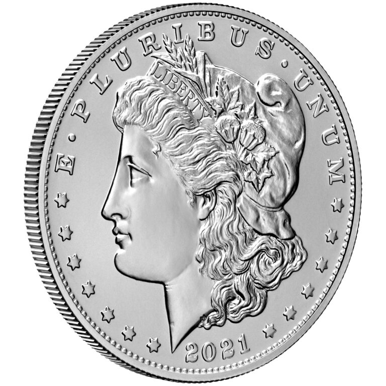 2021 Morgan Dollar Anniversary Coin Uncirculated Obverse Angle