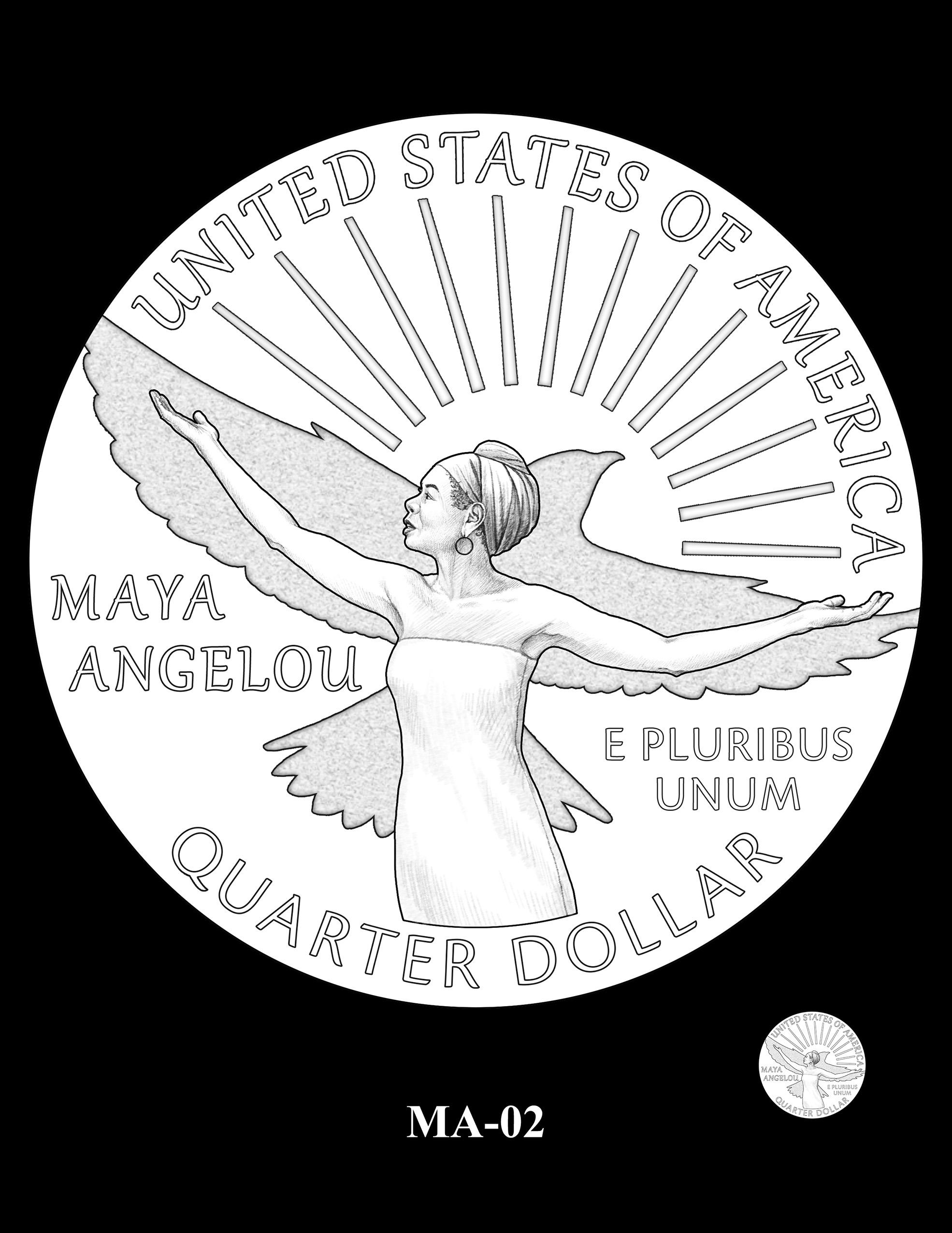 MA-02 -- 2022 American Women Quarters - Maya Angelou Reverse