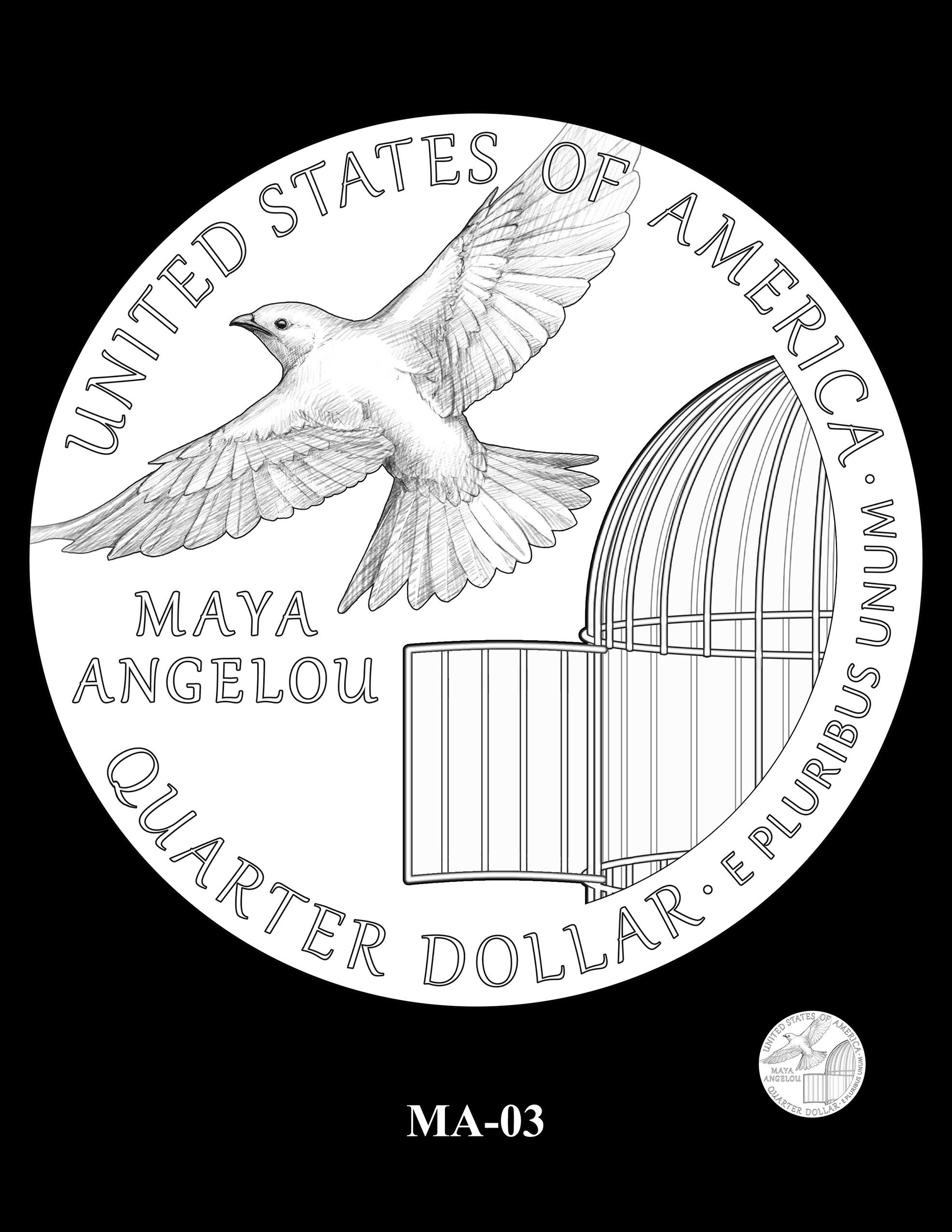 MA-03 -- 2022 American Women Quarters - Maya Angelou Reverse
