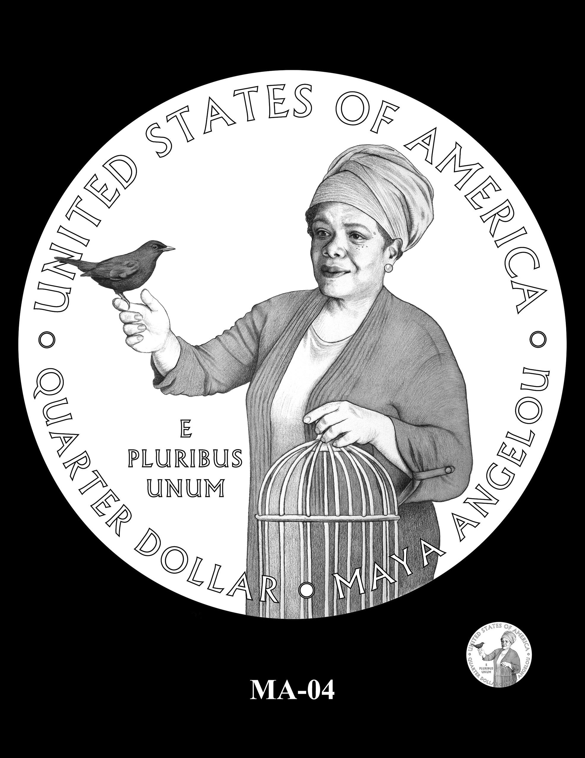 MA-04 -- 2022 American Women Quarters - Maya Angelou Reverse