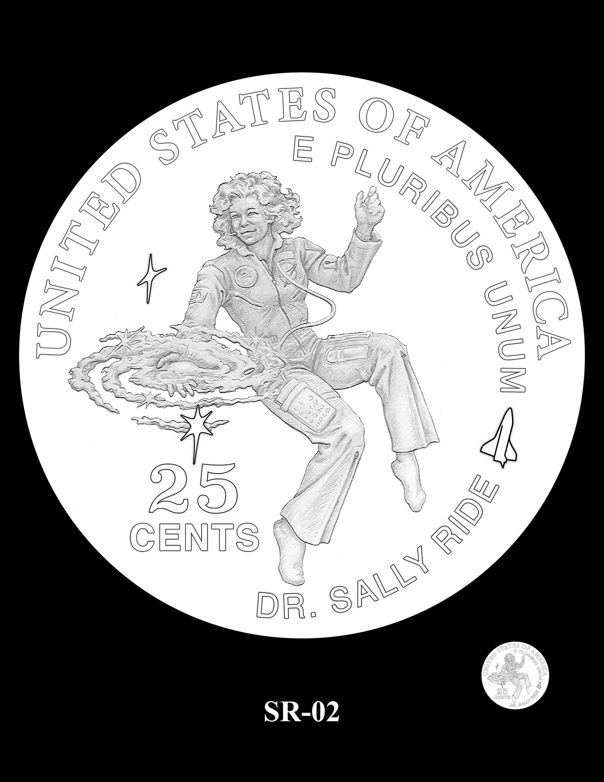 SR-02 -- 2022 American Women Quarters - Sally Ride Reverse