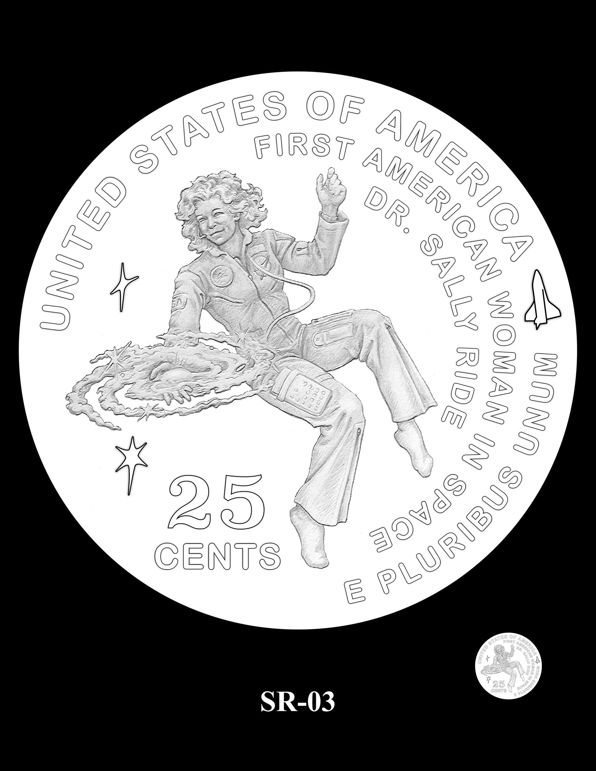 SR-03 -- 2022 American Women Quarters - Sally Ride Reverse