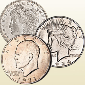 Morgan, Peace, and Eisenhower dollar coin obverses
