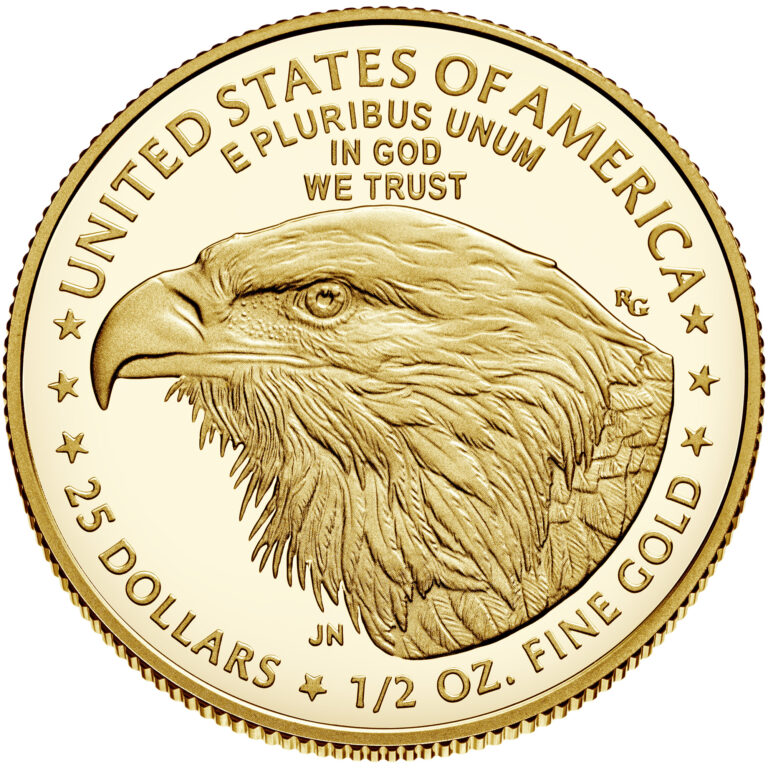 2021 American Eagle Gold Half Ounce Proof Coin Reverse New Design