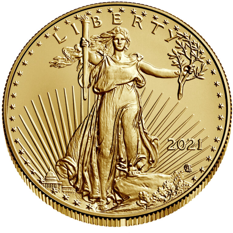 2021 American Eagle Gold One Ounce Bullion Coin Obverse Angle New Design