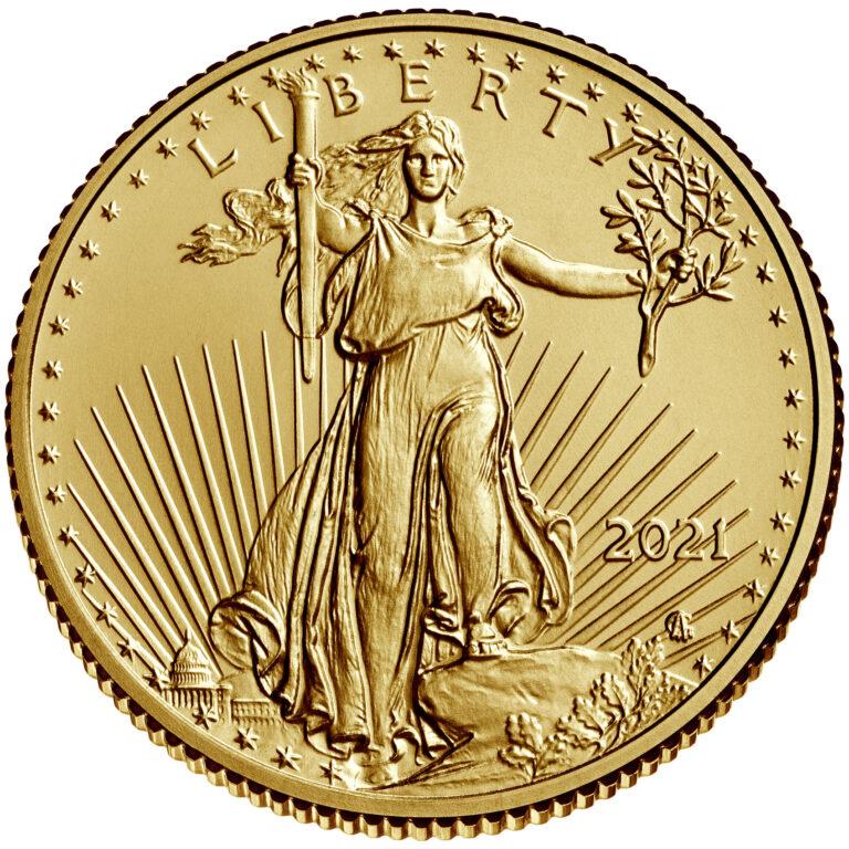 2021 American Eagle Gold Quarter Ounce Bullion Coin Obverse New Design