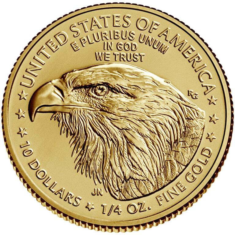 2021 American Eagle Gold Quarter Ounce Bullion Coin Reverse New Design