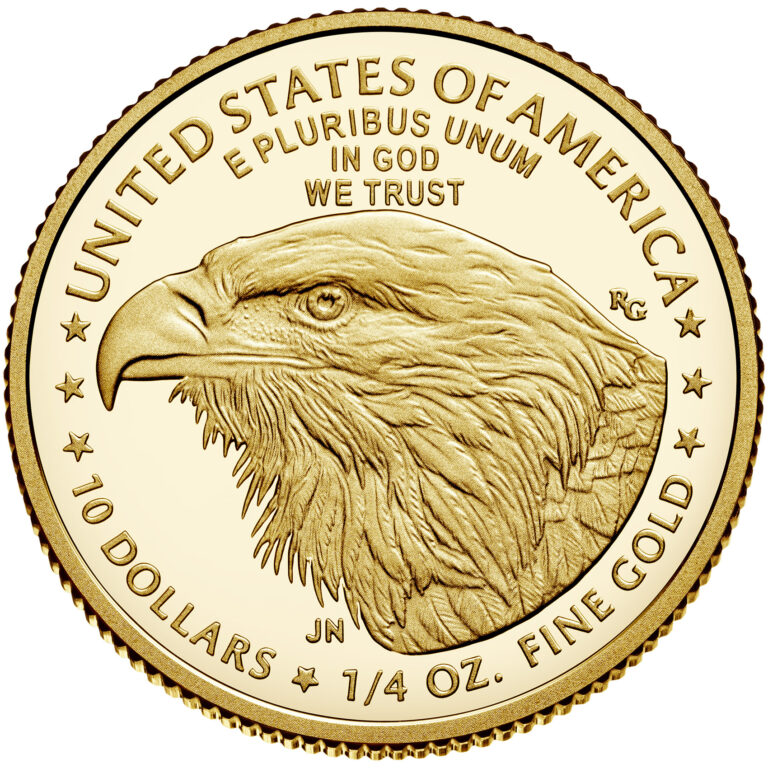 2021 American Eagle Gold Quarter Ounce Proof Coin Reverse New Design