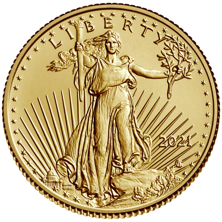 2021 American Eagle Gold Tenth Ounce Bullion Coin Obverse New Design