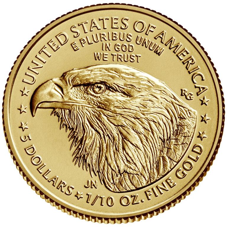 2021 American Eagle Gold Tenth Ounce Bullion Coin Reverse New Design