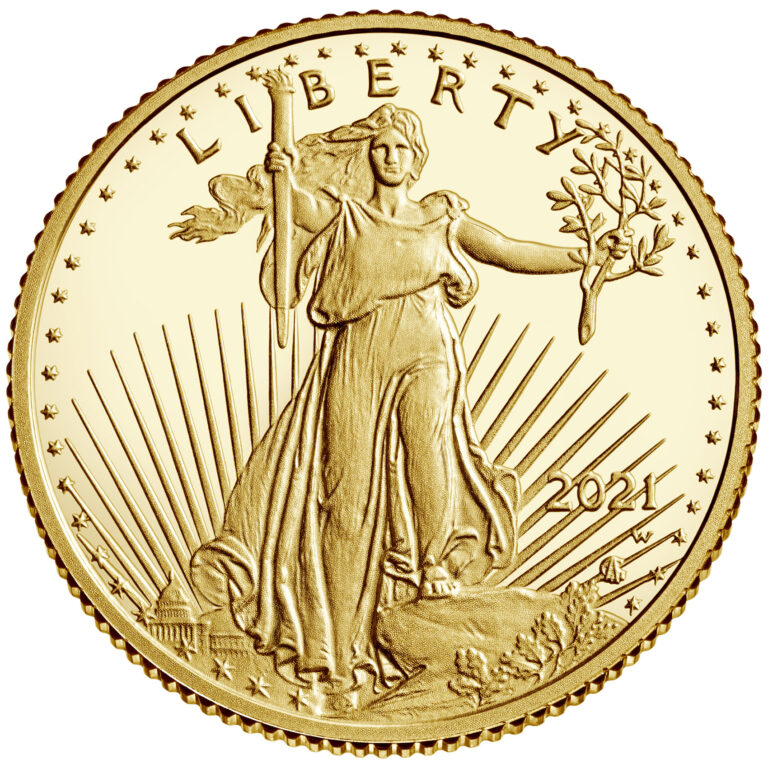 2021 American Eagle Gold Tenth Ounce Proof Coin Obverse New Design