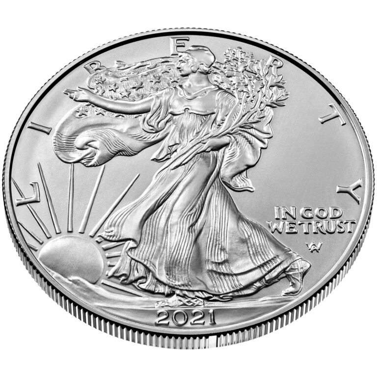2021 American Eagle Silver One Ounce Bullion Coin Obverse New Design Angle