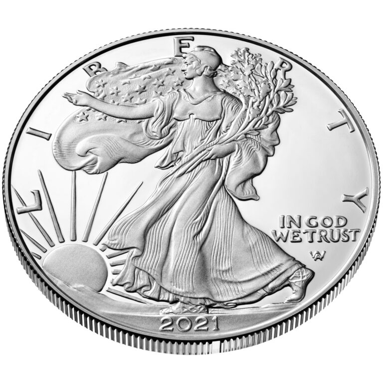 2021 American Eagle Silver One Ounce Proof Coin Obverse New Design Angle