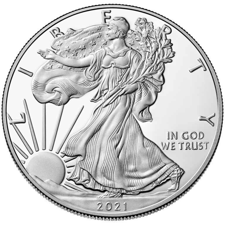 2021 American Eagle Silver One Ounce Proof Coin Obverse Old Design