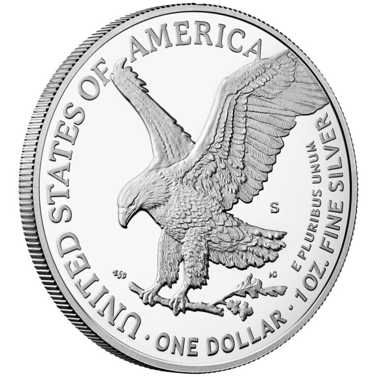 2021 American Eagle Silver One Ounce Proof Coin Reverse San Francisco New Design Angle