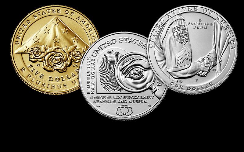 law enforcement commemorative gold, clad, silver coins