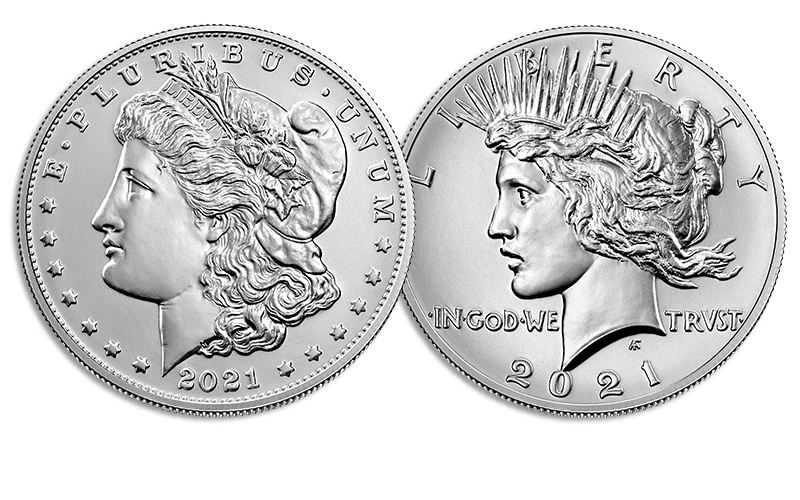 2021 Morgan and Peace Dollar obverses