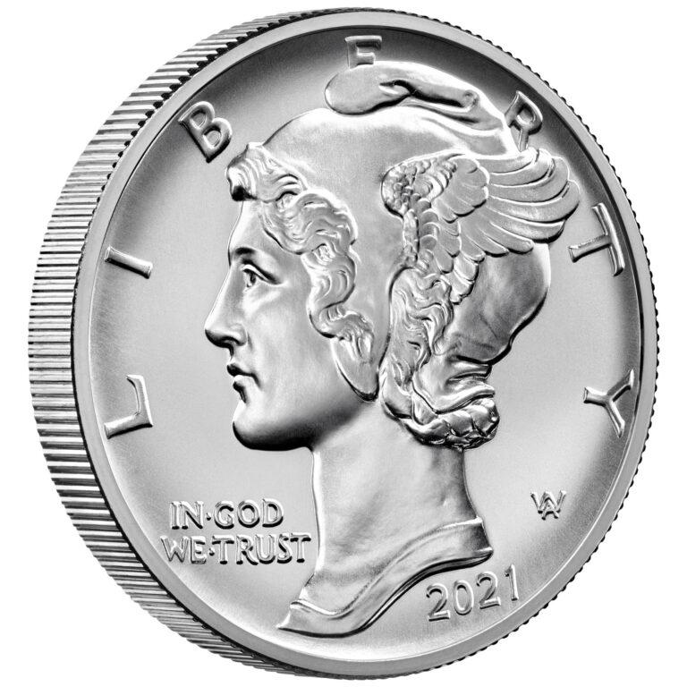 2021 American Eagle Palladium One Ounce Bullion Coin Obverse Angle
