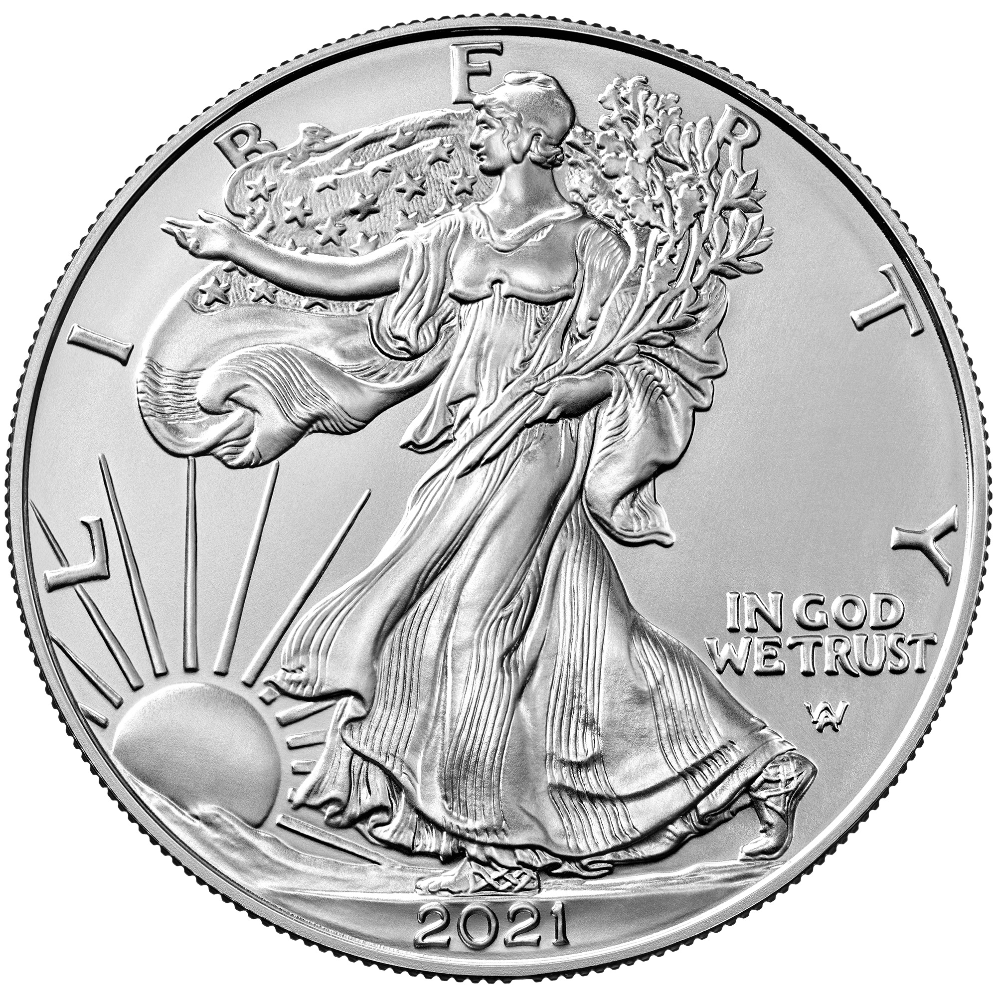 2021 American Eagle Silver One Ounce Uncirculated Coin Obverse New Design