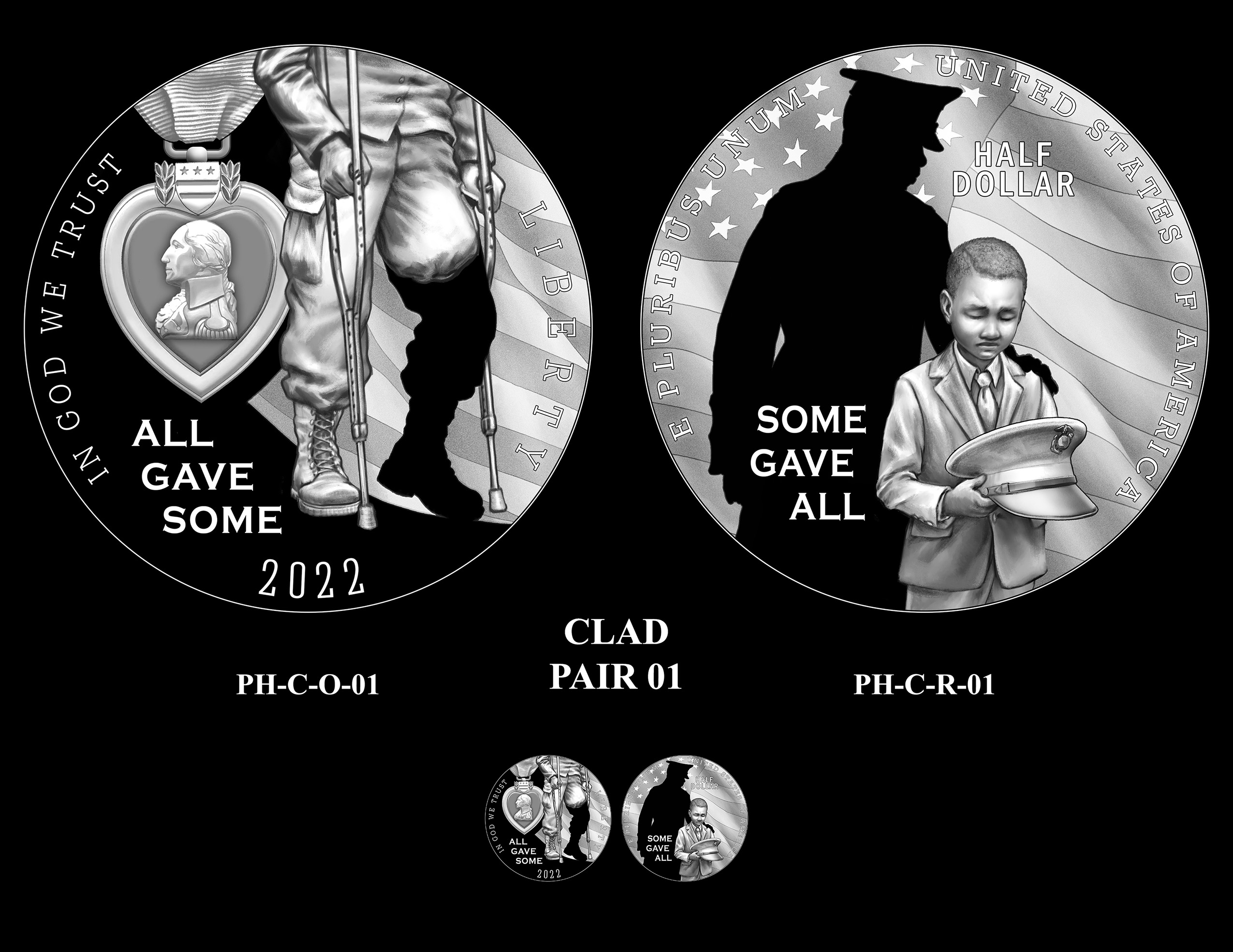 Clad Pair 01 -- National Purple Heart Hall of Honor Commemorative Coin Program