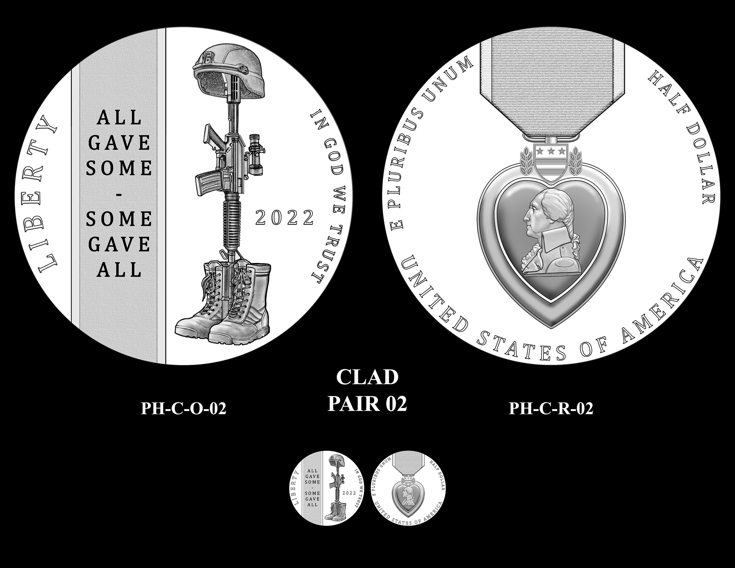 Clad Pair 02 -- National Purple Heart Hall of Honor Commemorative Coin Program