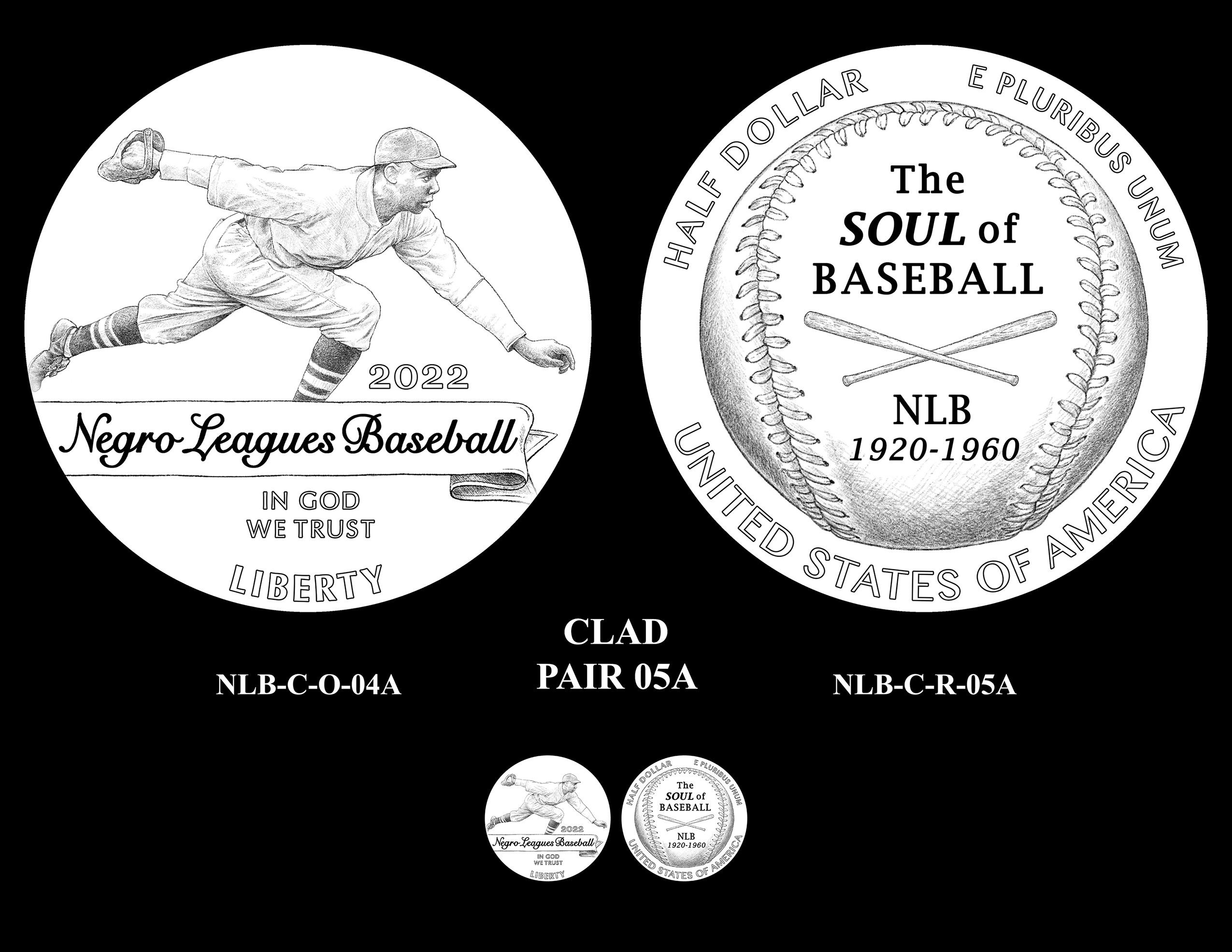 Clad Pair 05A -- Negro Leagues Baseball Commemorative Coin Program