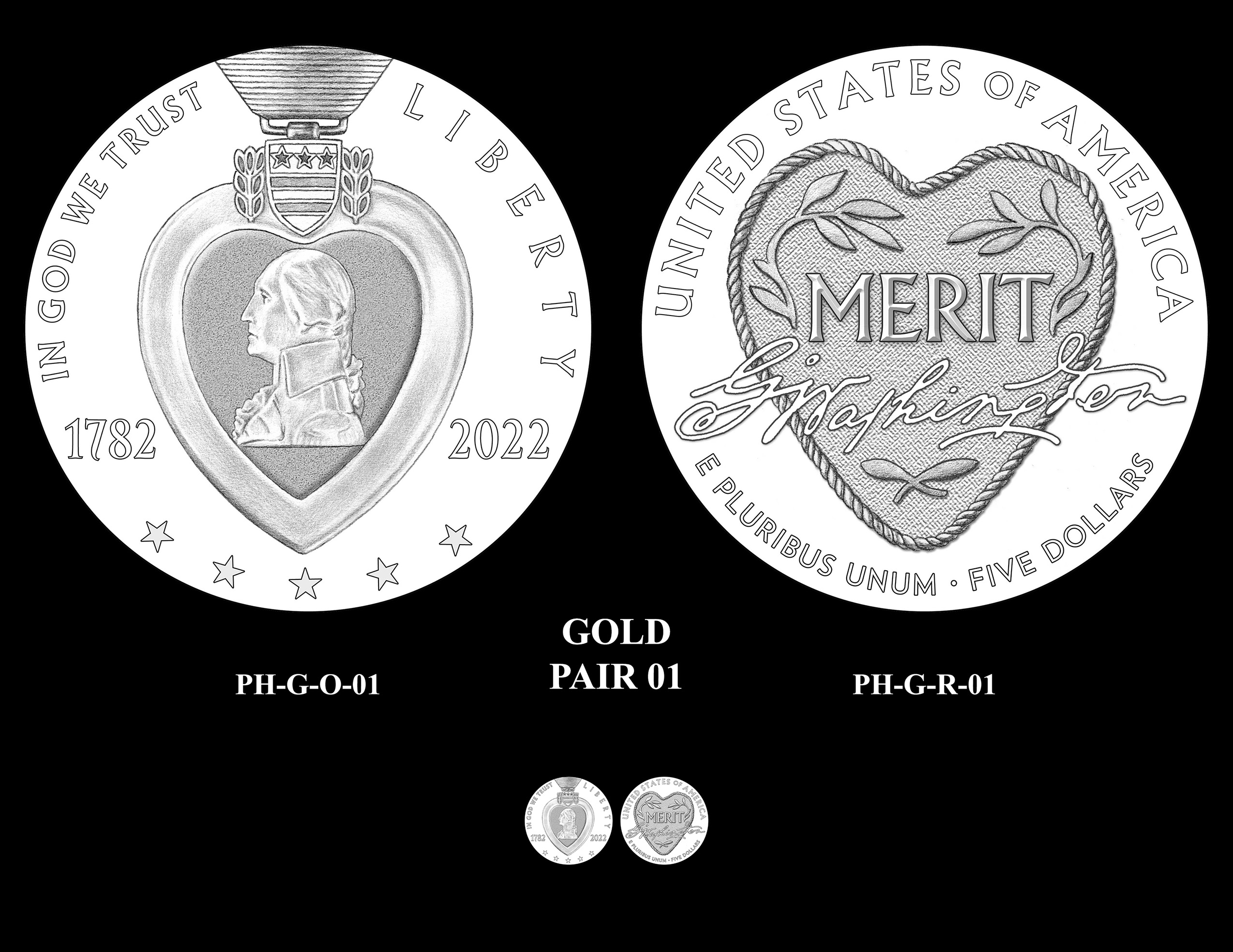 Gold Pair 01 -- National Purple Heart Hall of Honor Commemorative Coin Program