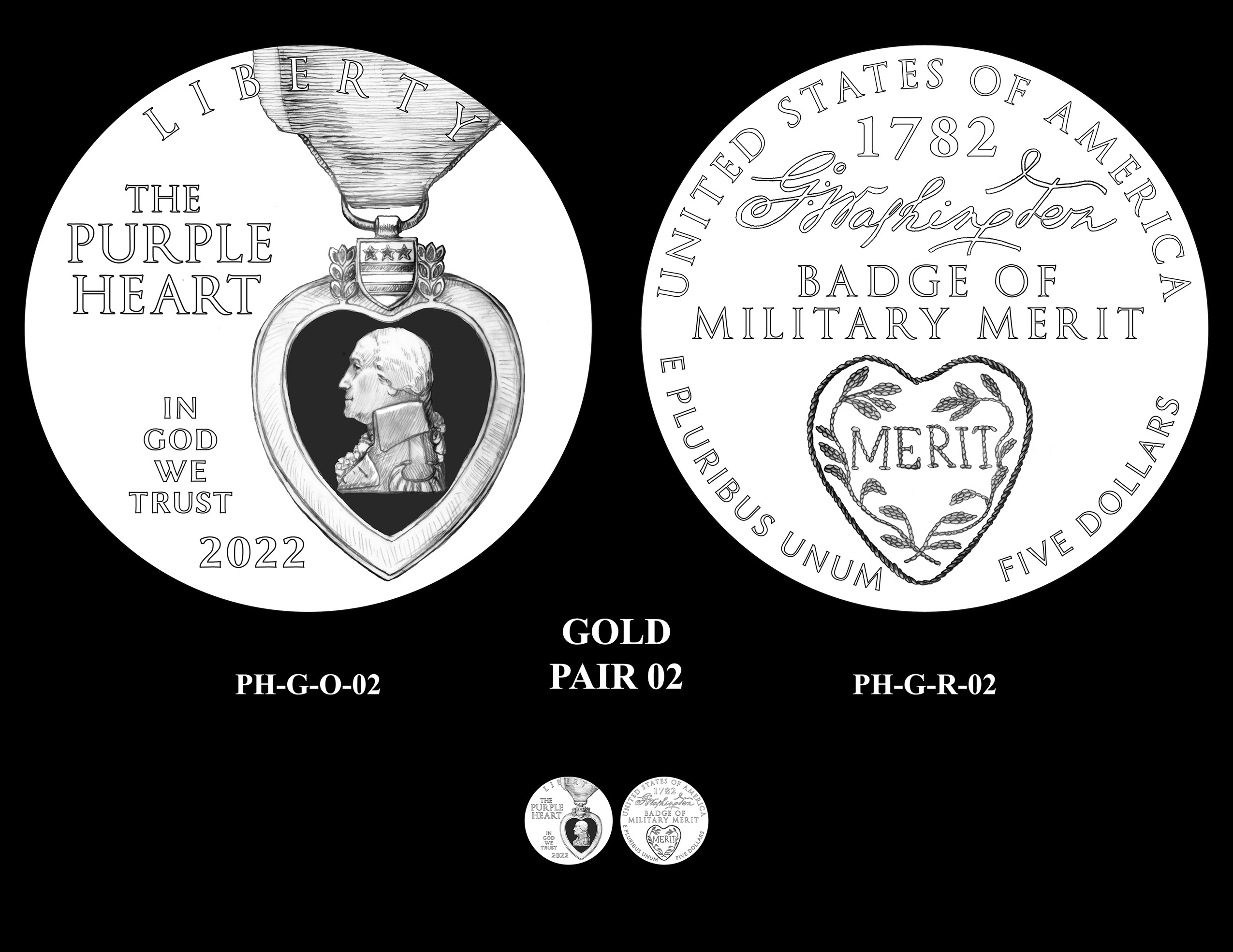 Gold Pair 02 -- National Purple Heart Hall of Honor Commemorative Coin Program