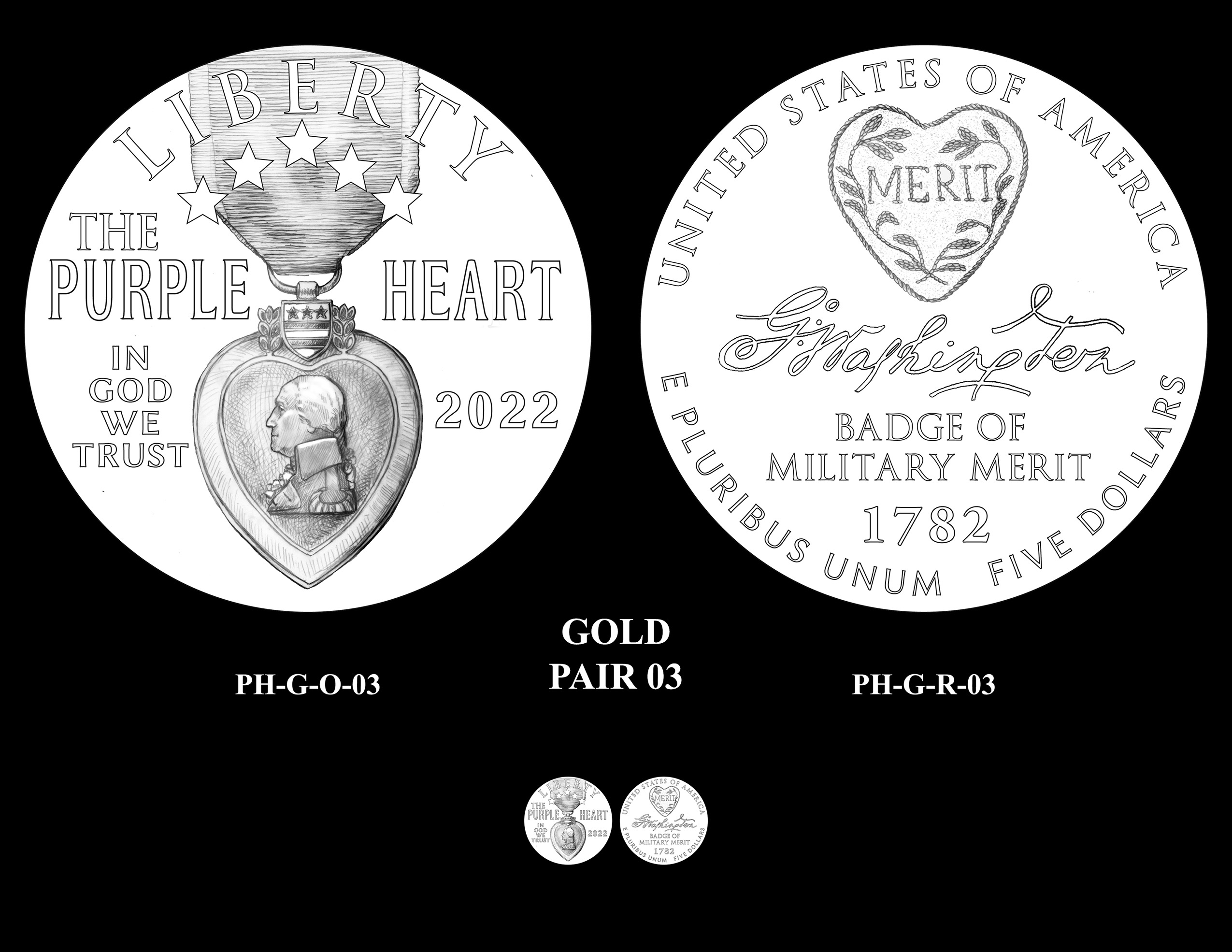 Gold Pair 03 -- National Purple Heart Hall of Honor Commemorative Coin Program