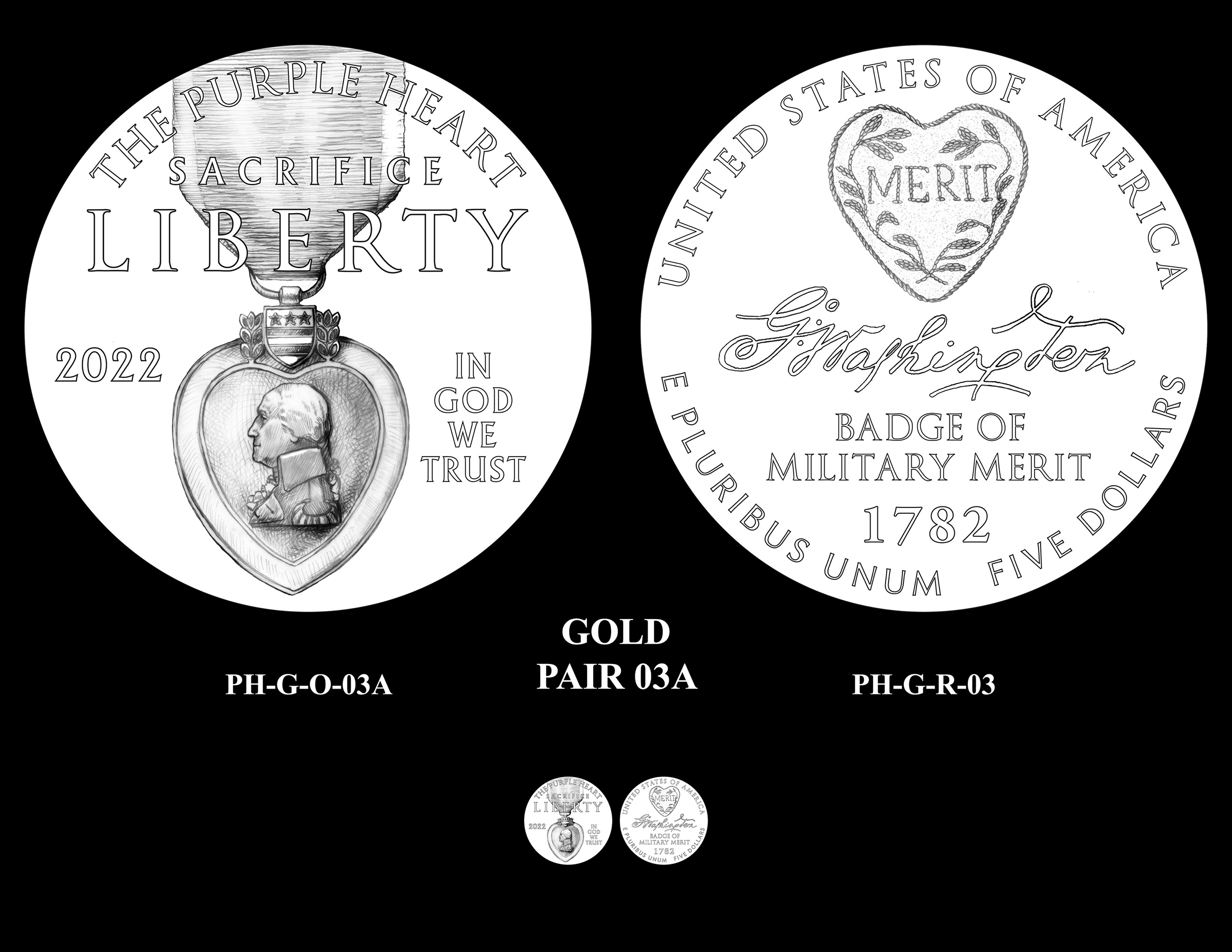 Gold Pair 03A -- National Purple Heart Hall of Honor Commemorative Coin Program