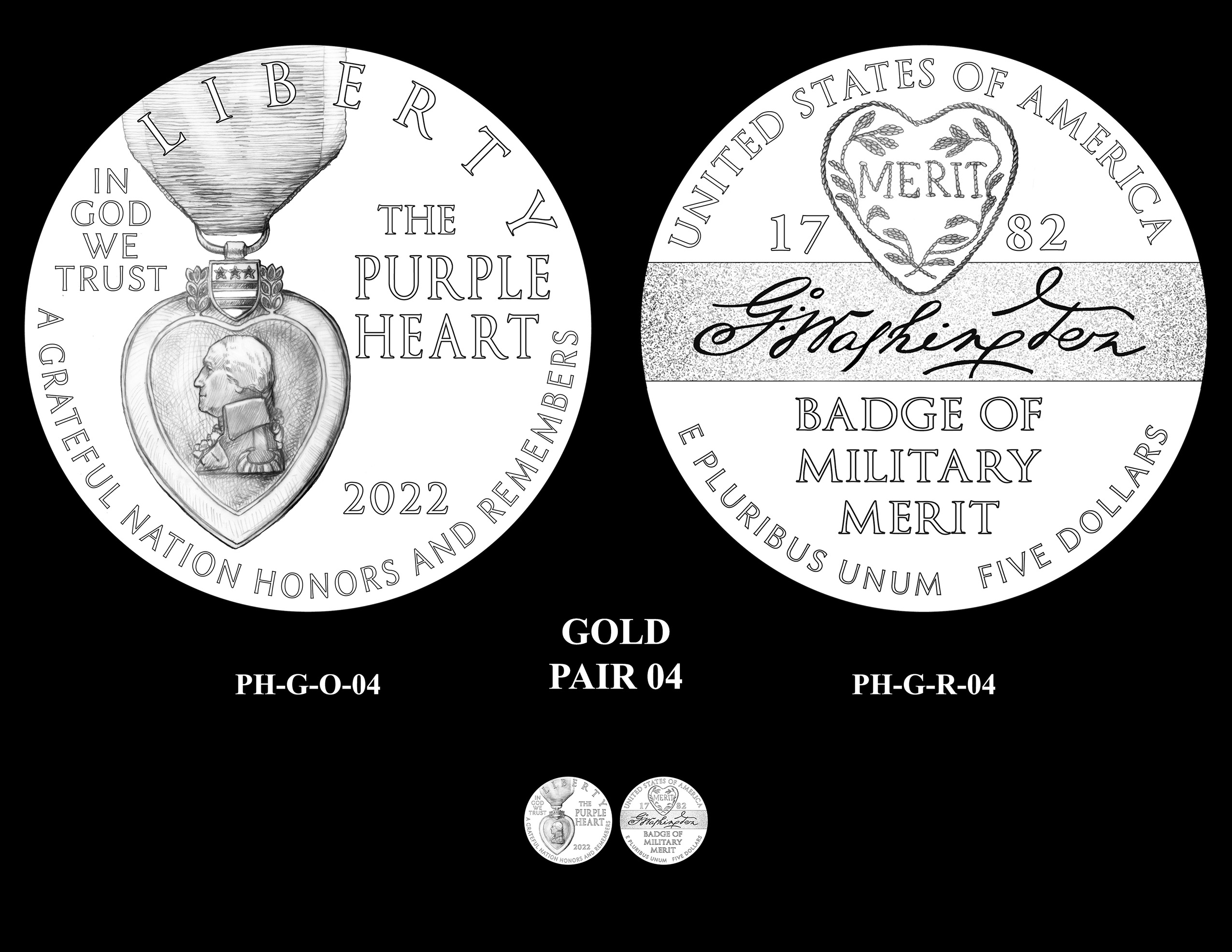 Gold Pair 04 -- National Purple Heart Hall of Honor Commemorative Coin Program