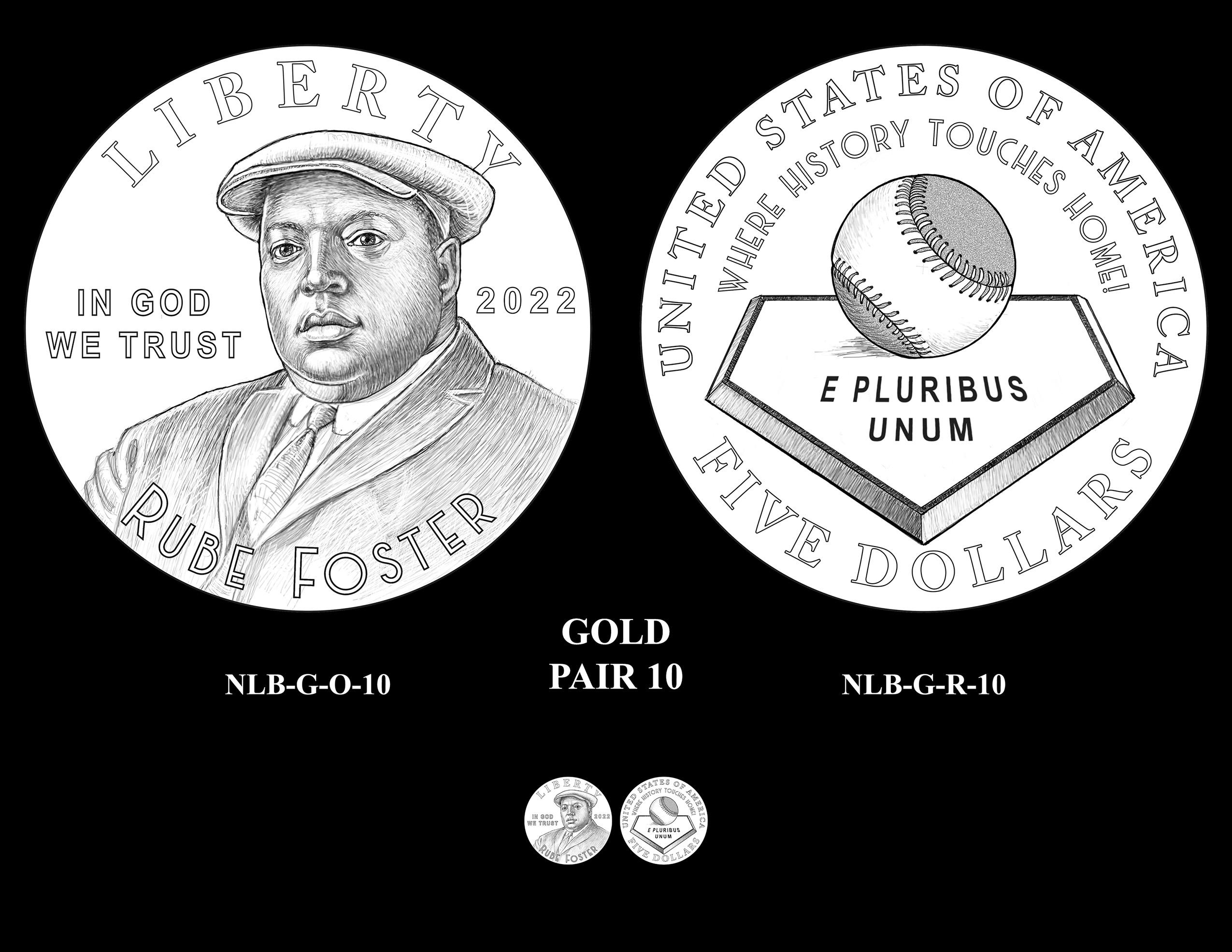 Gold Pair 10 -- Negro Leagues Baseball Commemorative Coin Program