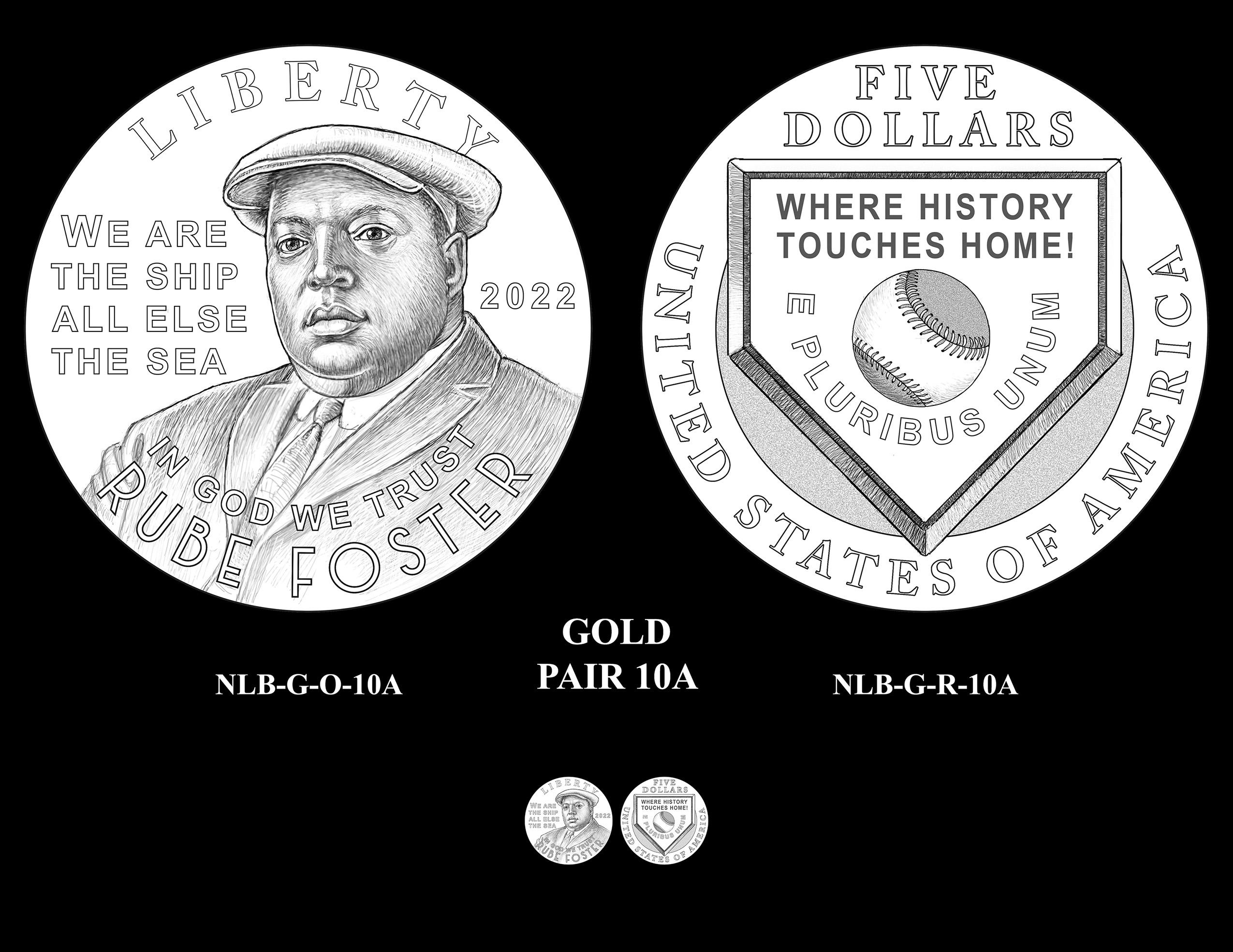 Gold Pair 10A -- Negro Leagues Baseball Commemorative Coin Program