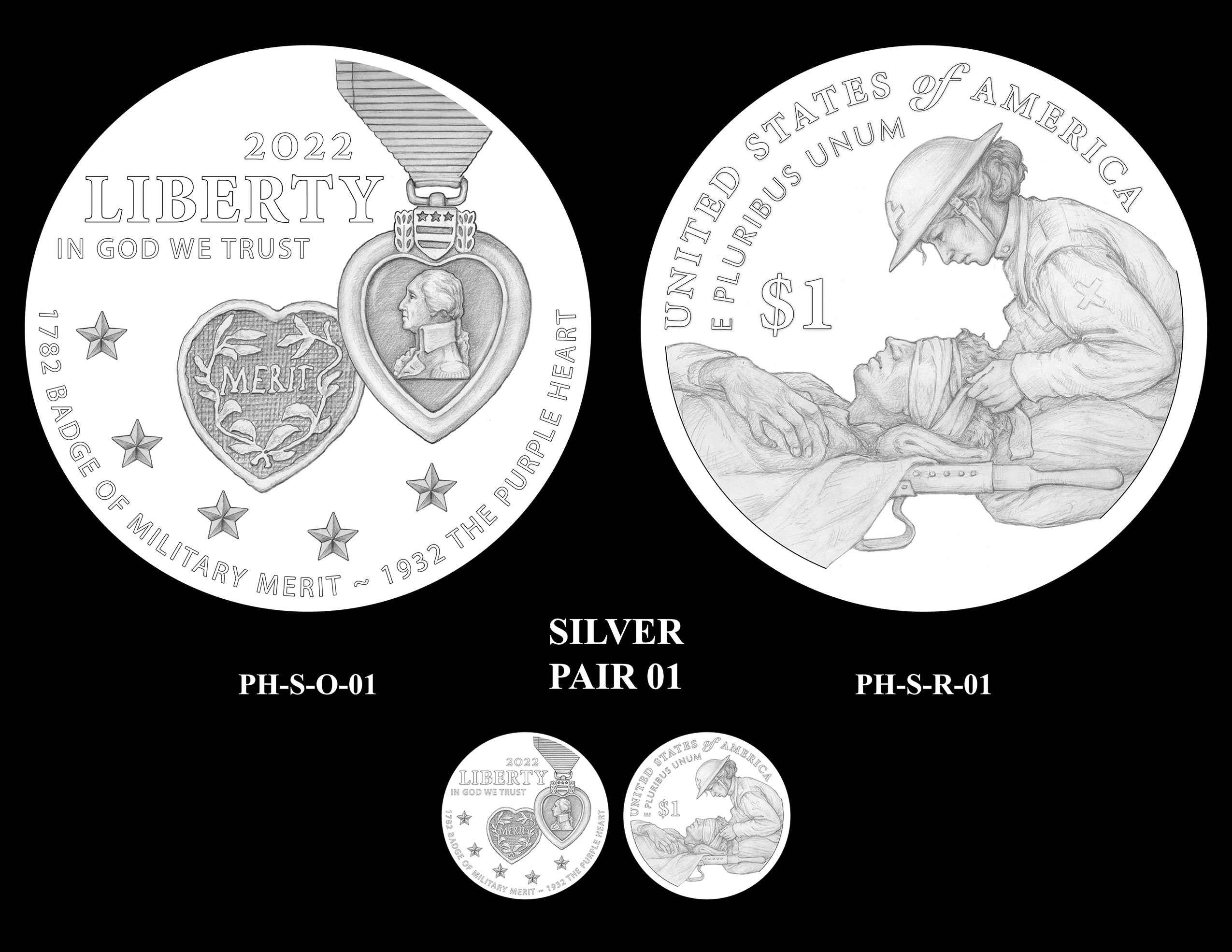 Silver Pair 01 -- National Purple Heart Hall of Honor Commemorative Coin Program
