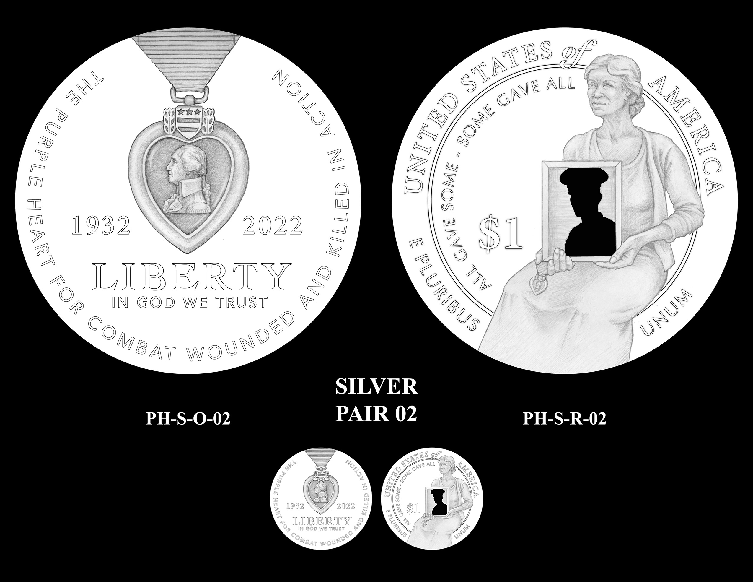 Silver Pair 02 -- National Purple Heart Hall of Honor Commemorative Coin Program