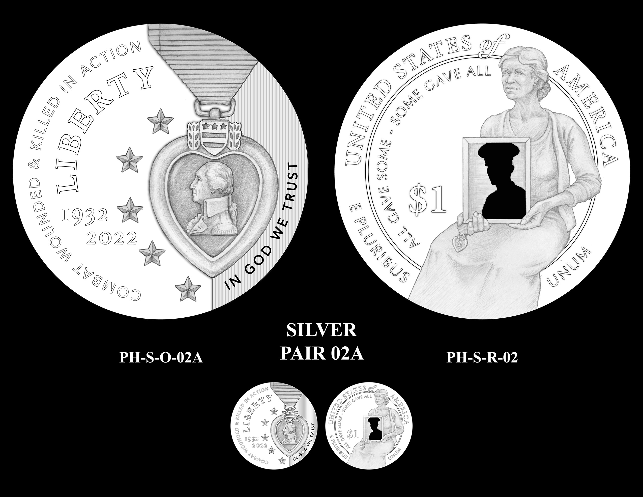 Silver Pair 02A -- National Purple Heart Hall of Honor Commemorative Coin Program