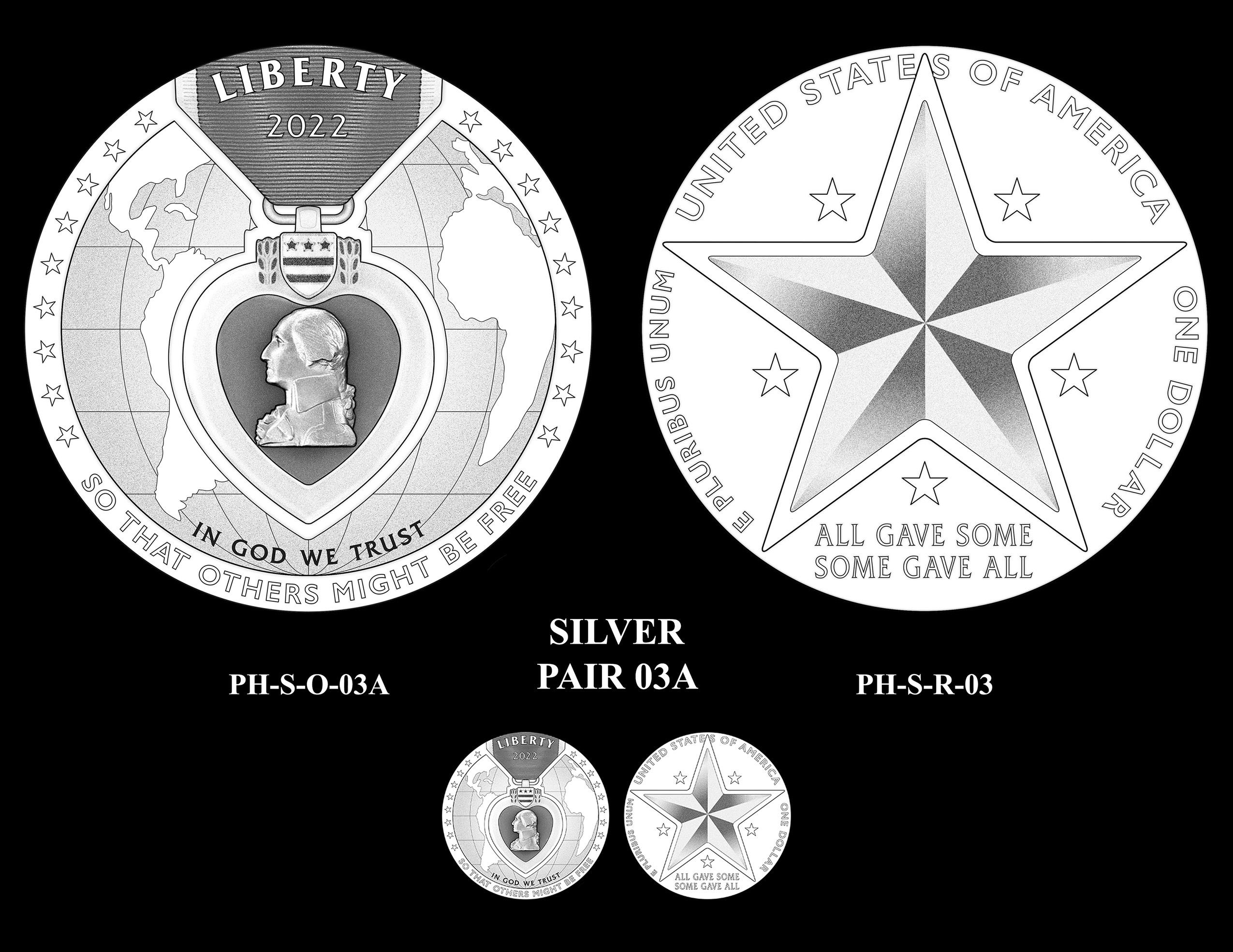 Silver Pair 03A -- National Purple Heart Hall of Honor Commemorative Coin Program