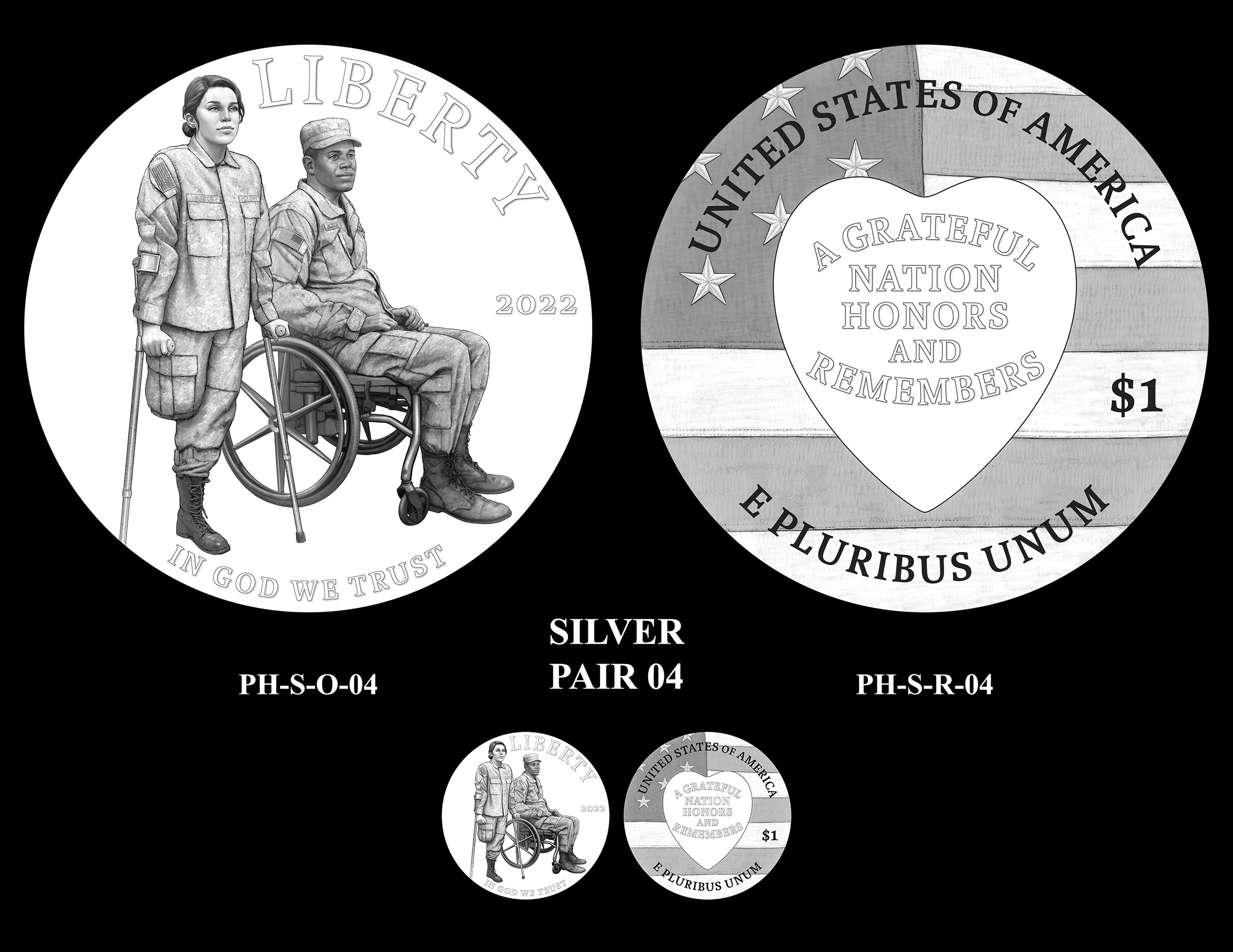 Silver Pair 04 -- National Purple Heart Hall of Honor Commemorative Coin Program