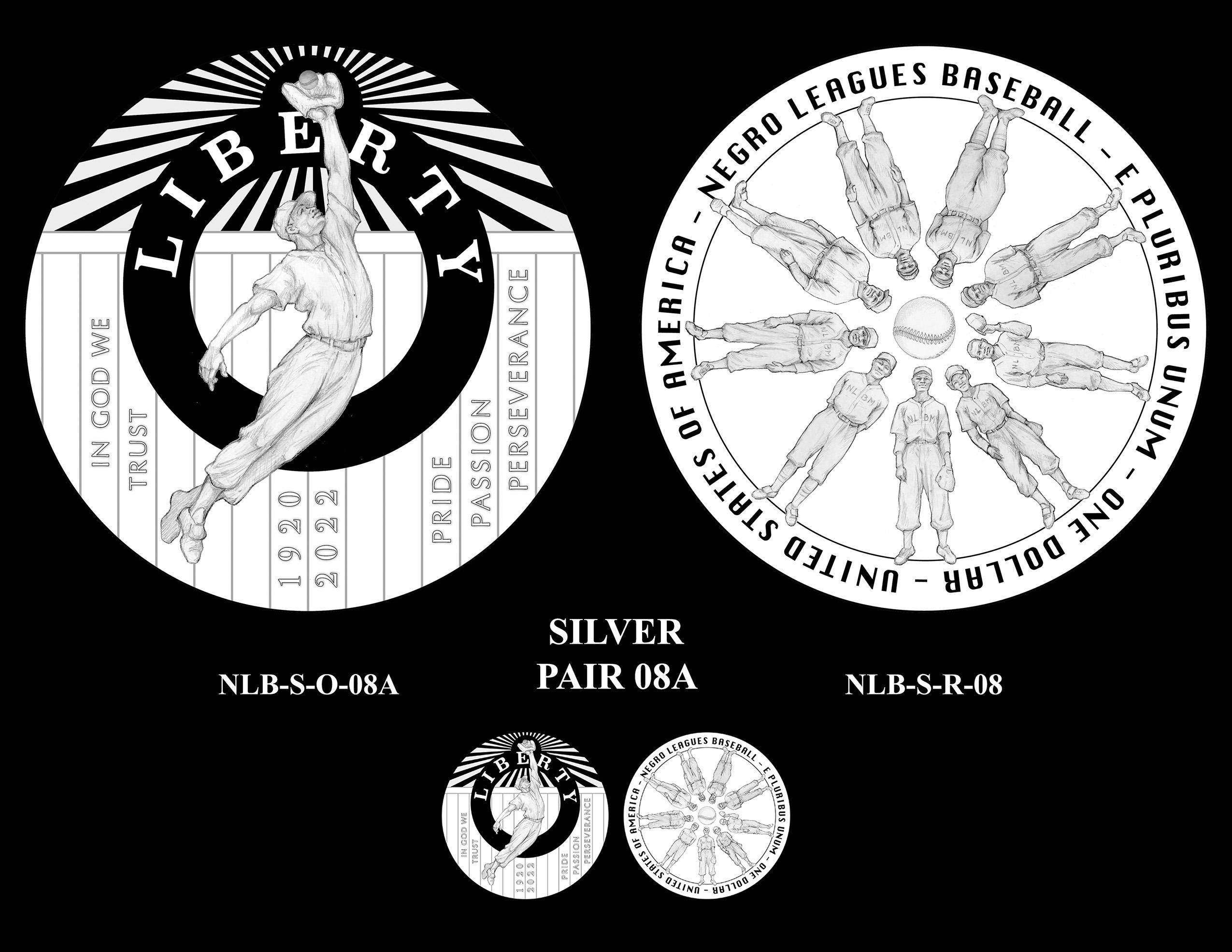 Silver Pair 08A -- Negro Leagues Baseball Commemorative Coin Program