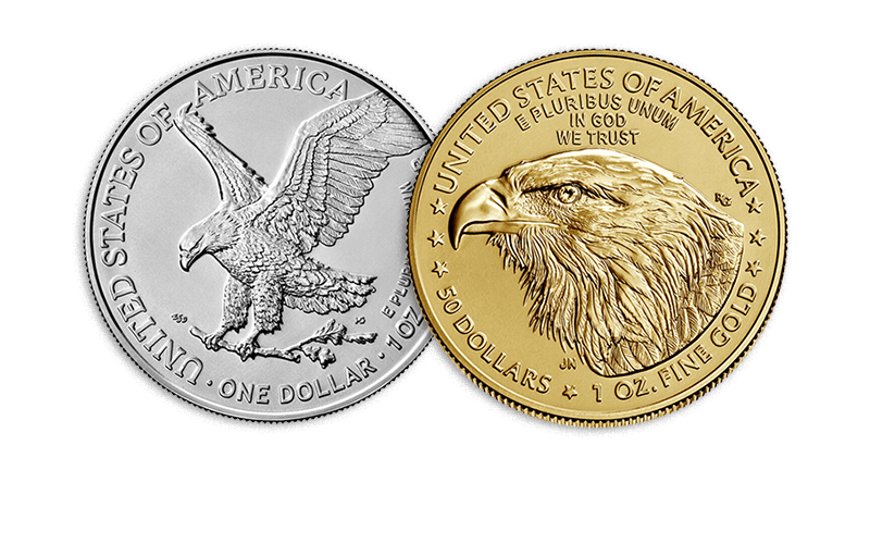 American Eagle silver and gold reverses