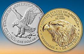 2021 American Eagle silver and gold coin reverses
