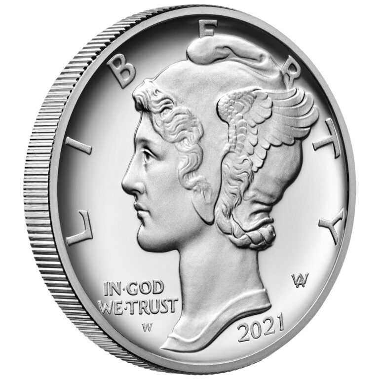 2021 American Eagle Palladium One Ounce Proof Coin Obverse Angle