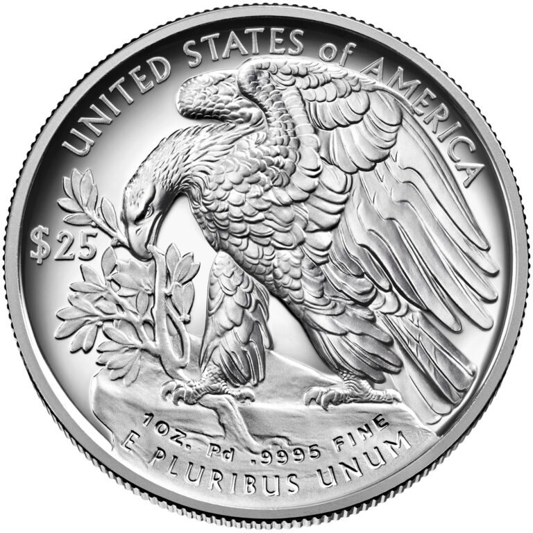 2021 American Eagle Palladium One Ounce Proof Coin Reverse