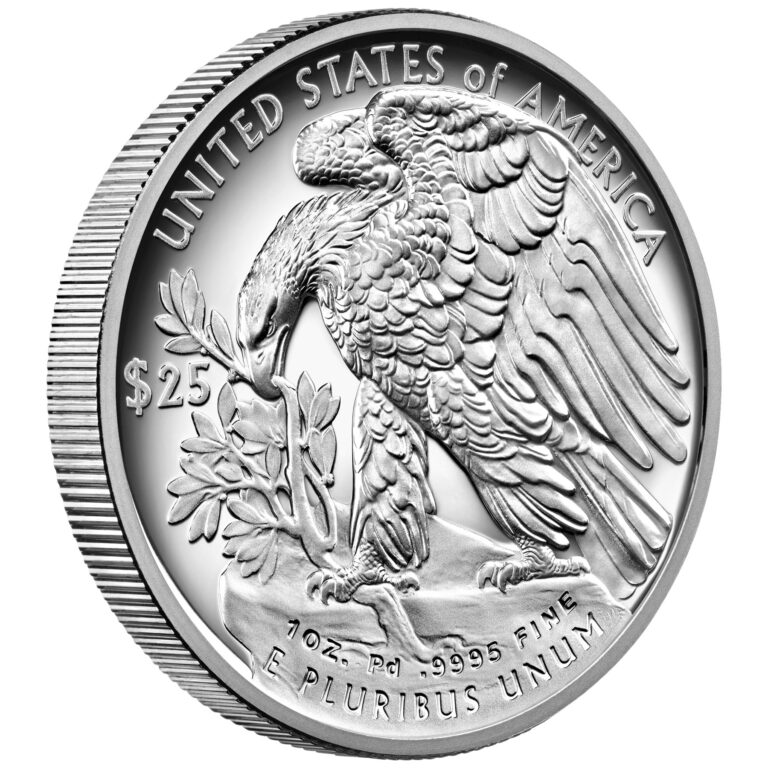 2021 American Eagle Palladium One Ounce Proof Coin Reverse Angle