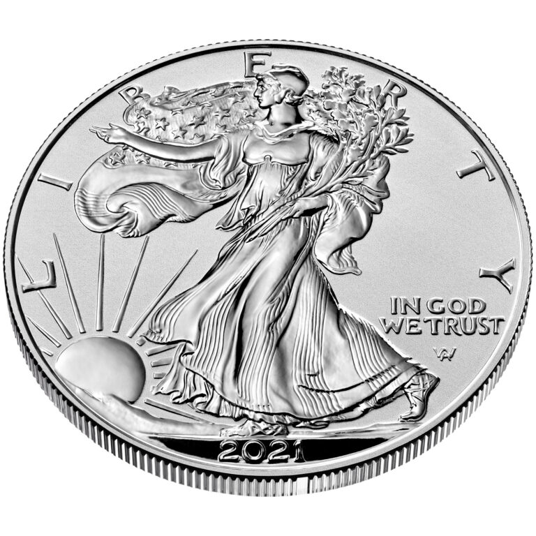 2021 American Eagle Silver One Ounce Reverse Proof Coin Obverse Angle New Design
