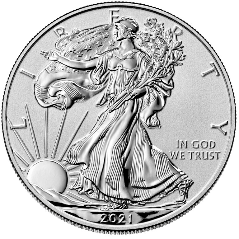 2021 American Eagle Silver One Ounce Reverse Proof Coin Obverse Old Design